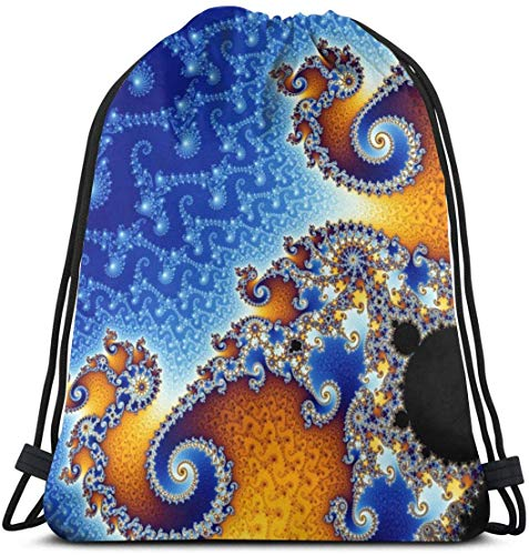 March flowers Fractal Spiral Blue 3D Print Drawstring Backpack Rucksack Shoulder Bags Gym Bag for Adult 16.9\