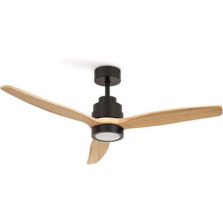 REATE IKOHS WINDSTYLANCE DC BLACK - Ventilateur de plafond 40 W DC Reverse avec lumière (avec lumière – Bois naturel)