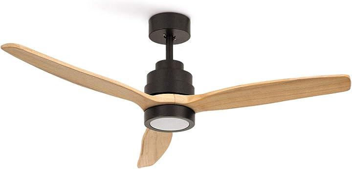 Ventilatore da soffitto 40 w dc reverse con luce – legno naturale create ikohs B0937C7SHK