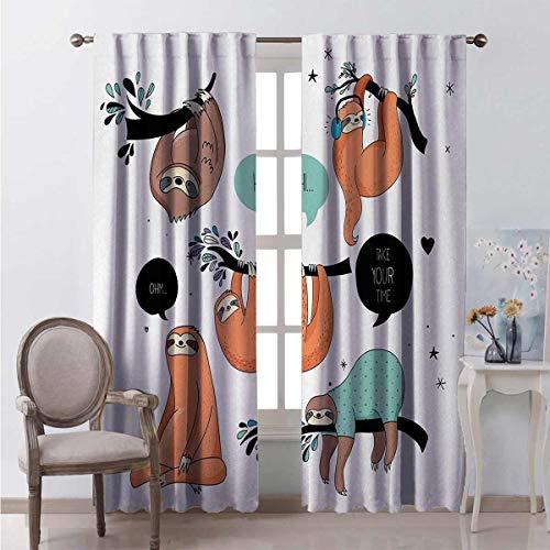 Animal 99% cortinas opacas estilo dibujos animados tribu de perezosos sonrientes dormir perezoso hace yoga con cita para dormitorio jardín de infancia sala de estar W63 x L84 pulgadas multicolor