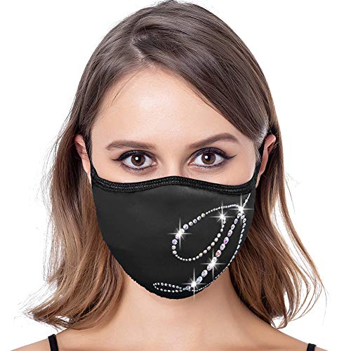 Fashionable Funny Letter Rhinestone Mask for Women Sparkling Face Cover Costume Party Masks (D)