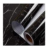 Papel tapiz de vinilo de mármol negro y adhesivo para la decoración del hogar de la cocina 45 cm x 3 m