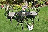 Made for us® Alu-Gartenmöbel-Set 5 teilig Gartentisch 54 x 54 cm und 2 Gartenstühle aus wetterfestem Aluguss-Metall mit UV beständiger AkzoNobel Einbrennlackierung. Inkl. 2 waschbaren Sitzkissen.