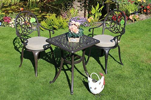 Made for us Alu-Gartenmöbel-Set 5 teilig Gartentisch 54 x 54 cm und 2 Gartenstühle aus wetterfestem Aluguss-Metall mit UV beständiger AkzoNobel Einbrennlackierung. Inkl. 2 waschbaren Sitzkissen.