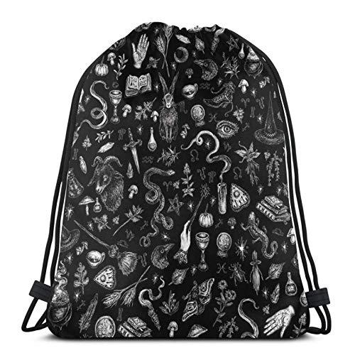 Hdadwy Salem Witch in Black Sport Bag Gym Sack Drawstring Backpack for Gym Shopping