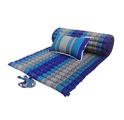 Materasso per la meditazione tradizionale thailandese, in kapok, con cuscino di supporto abbinato, per la meditazione, massaggi o rilassarsi Light Blue, Dark Blue