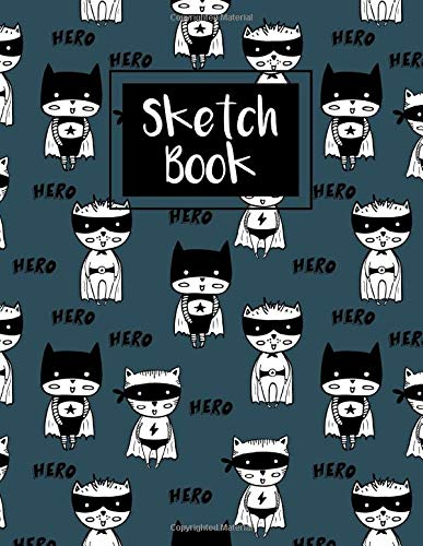 Hero Cats Pattern Cover Sketch book For Drawing, Doodling And Sketching | 120 pages | 8.5x11