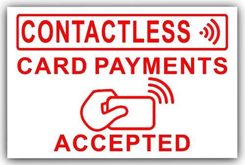 Platina Plaats 1 x Contactloos, Kaartbetalingen Geaccepteerd-130mm ROOD op WIT EXTERNE Taxi, Mini, Cab, Cash, Machine, Punt, Bank, Winkel, Winkels, Sticker, Kennisgeving, Teken, Kennisgeving, Kennisgeving