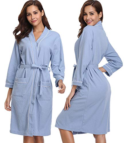 Vlazom Damen Bademantel Baumwolle Leicht Morgenmantel Waffel Saunamantel Mit V-Kragen Unisex Kimono Robe