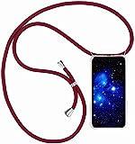 Bigcousin Funda con Cuerda Compatible con Huawei Mate 20 Pro,Transparente de TPU con Ajustable Collar Cadena Cordón,Rojo
