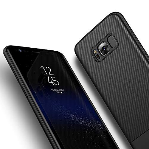 Losvick Coque pour Samsung Galaxy S8, Silicone Souple Anti-Choc Air Cushion Coque Ultra Fine TPU Texture Fibre de Carbone Housse Anti-Rayure Protection Bumper Etui Coque pour Galaxy S8 - Noir