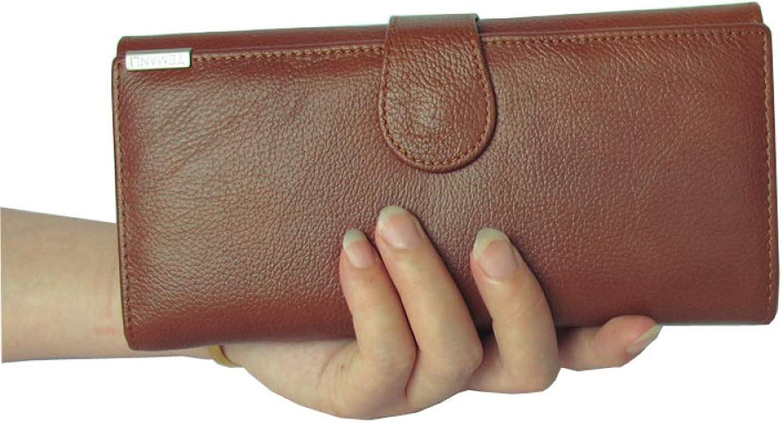 GAOQQ Lange Leder Geldbörse - Multi-Card Position Geldbörse, Clutch Bag Für Handy,braun B07GTG1D8B