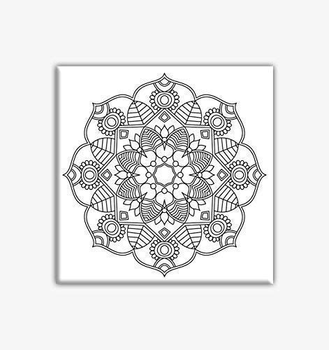 Flower Mandala Coloring Canvas For Adults, Stretched primed canvas to color 8 x 8 Inches