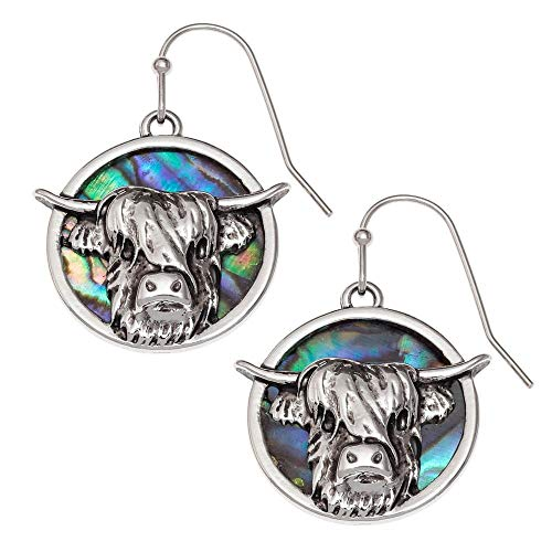Eternal Collection Highland Cow Paua Shell Silver Tone Drop Pierced Earrings Multi 3.3