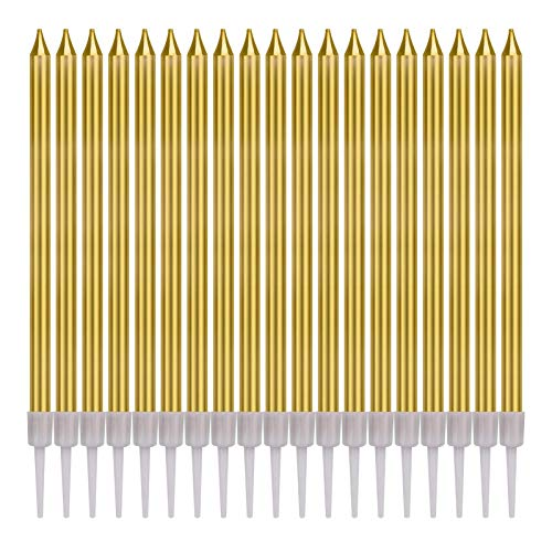 Gesentur Birthday Candles 60 Count Long Thin Cake Candles in Holders with Happy Birthday Cake Topper for Birthday Wedding Christmas Cupcake Decoration, Gold
