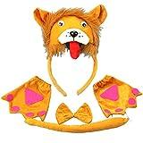 PRETYZOOM Kinder Tier Kostüme Set Löwe Stirnband mit Ohren Tier Schwanz Fliege Handschuhe Nase...