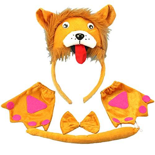 PRETYZOOM Kinder Tier Kostüme Set Löwe Stirnband mit Ohren Tier Schwanz Fliege Handschuhe Nase für Karneval Party Cosplay Kostüm 5 Stück (Gelb)