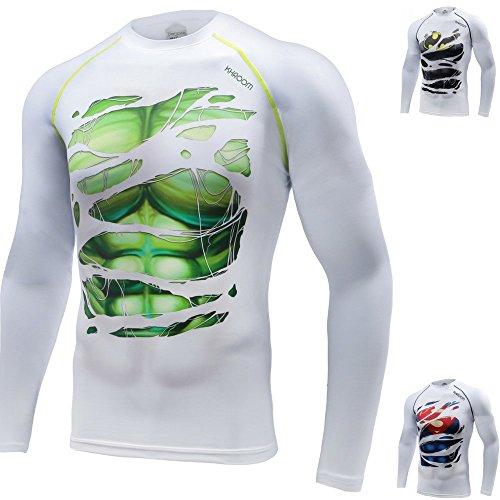 Khroom Camiseta de Compresión de Superhéroe para Hombre | Ropa Deportiva de Secado Rápido para Ejercicio, Gimnasio, Musculación, Running | Material Extensible Ventilado Anti Transpiración (Hulk, XXL)
