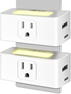 ALLCACA Smart Plug WiFi Outlet Mini Smart Socket with APP Remote Control and LED Night Light, Compatible with Alexa and Google Home Assistant, 2 Pcs