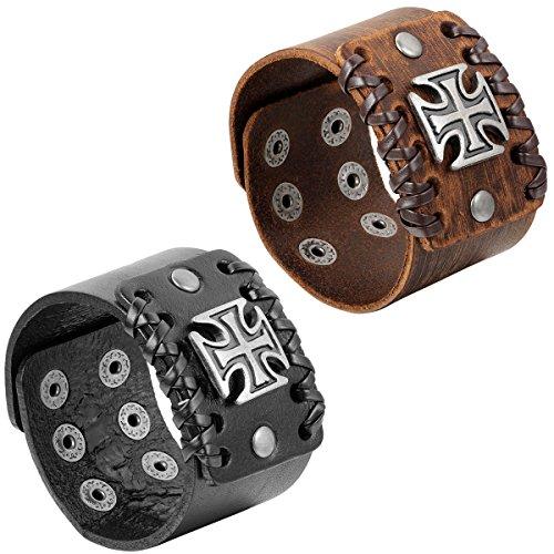 JewelryWe Schmuck 2pcs Herren Armband, Breit Kreuz Armreif, Verstellbaren Größen, Leder Echtleder Legierung, Schwarz Braun Silber
