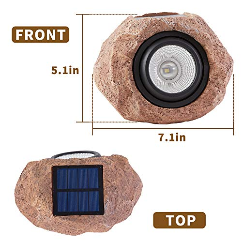Solar Rock Lights, Solar Powered Garden Stone Rock Lights, LED Solar Waterproof Light for Patio, Garden, Backyard Pathway Driveway Landscape Rock