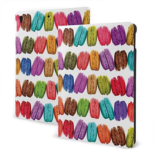 Franse Macarons Op Een Rij Koffie Shop Cookies Smaken Gebak Bakkerij Voedsel Ontwerp Ipad Anti-val Beschermende Cover Patroon DesignIpad Case, 10.5In, 1 kleur