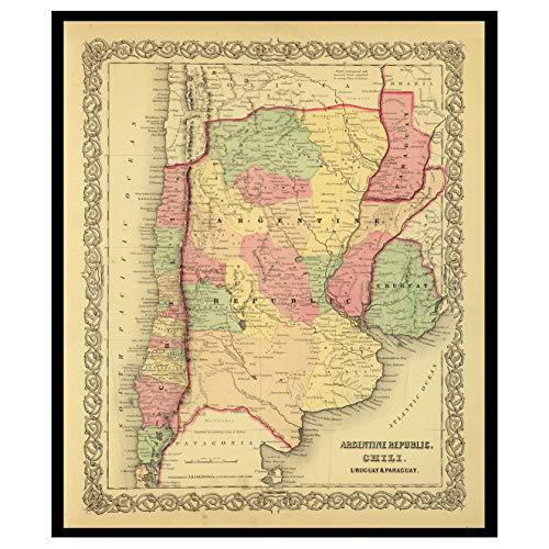 Old Maps Library-Mapa de reproducción vintage de la biblioteca de mapas antiguos de la REPÚBLICA ARGENTINA, CHILI, URUGUAY, PARAGUAY 1856. Parte trasera de lino, mapa plegado.