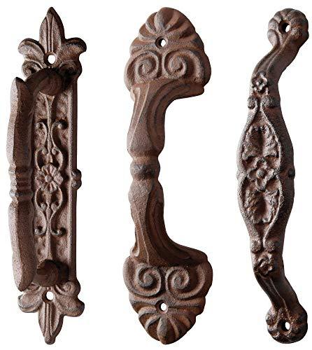 esschert Design poignée de Porte, Bouton de Porte en Fonte, Long, triés, 1 pièce, Environ 5,3 cm x 6,4 cm x 24 cm