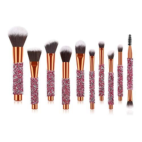 Pinceaux de maquillage femmes 10 pcs Diamant-constellé Pour Le Visage Et Les Yeux Make Up Brush Professional Foundation Crayon À Paupières Maquillage Outils Doux