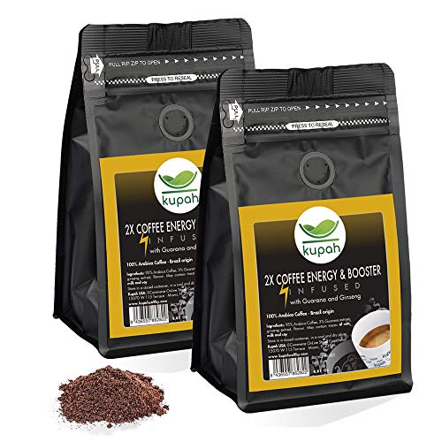 High Caffeine Coffee | Kupah 2 x Coffee Energy & Booster Ground Coffee Two Bags 17.62 oz | Guarana & Ginseng | Keto & Paleo Friendly | for Drip Coffee Brewers and French Press