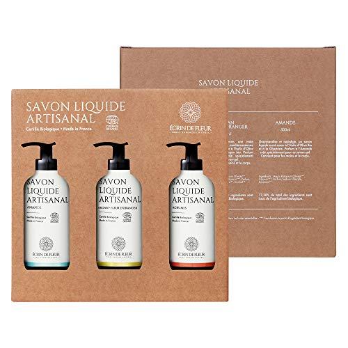 Écrin De Fleur – Jabón Líquido Artesanal – Caja de Regalo de 3 Botellas (Argán & Azahar, Almendra, Cítricos) para Cuerpo y Manos, Certificado Orgánico por Ecocert - 3 x 500ml