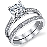 1.25 Carat Round Brilliant Cubic Zirconia Sterling Silver 925 Wedding Engagement Ring B