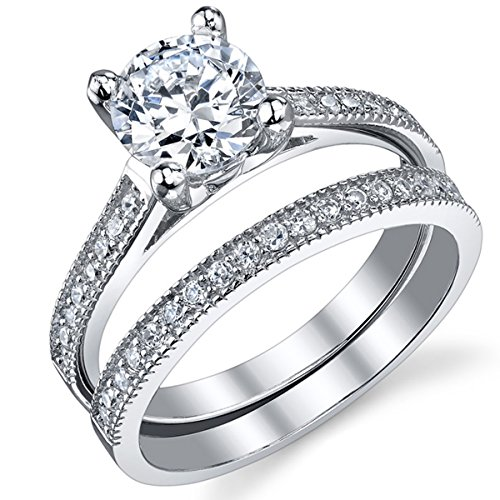 1.25 Carat Round Brilliant Cubic Zirconia Sterling Silver 925 Wedding Engagement Ring Band Set 4