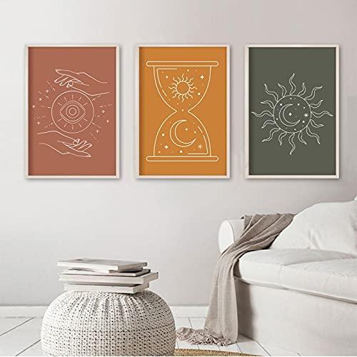 Boho Posters Línea abstracta Arte de la pared Impresión Celestial Mano Pintura Sol Luna Lienzo Póster Imágenes de pared nórdicas Sala de estar 40x50cm (16x20in) x3 Sin marco