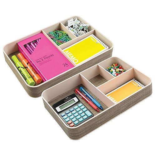 mDesign Organizador escritorio con 4 divisiones - Caja con compartimentos diferentes tamaños - Clasificador de objetos oficina