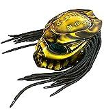 LHY TRAVEL Casco de Moto Predator, máscara de Cosplay Casco de Cara Completa con Trenzas Tejidas a Mano Mascarilla Detachable con Trenzas Tejidas a Mano Motocicleta Casco M-XXL (57-64cm),M
