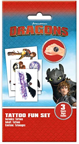 Craze Dragons 3 Kinder-Tattoos Fun Set 3 Bögen Drachenzähmen Klebetattoos Party Mitbringsel 57736, Kindertattoo, 1, 5 X 12 X 18 cm