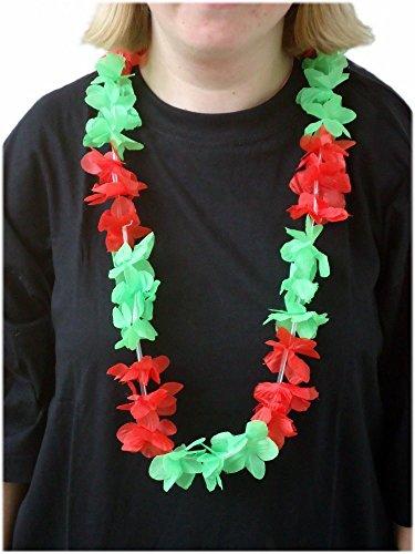 Sportfanshop24 Blumenkette/Hawaiikette / Halskette - rot-grün (Portugal) - Umfang zirka 100cm (1m)