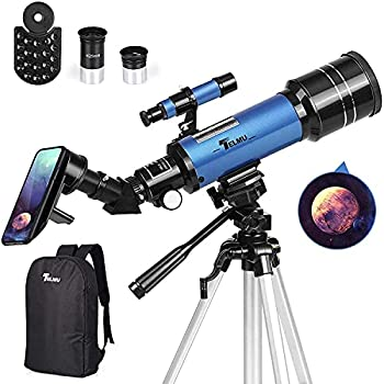 TELMU Telescope 70mm Aperture 400mm AZ Mount Astronomical Refracting Telescope Adjustable 17.7In-35.4In  Portable Travel Telescopes with Backpack Phone Adapter
