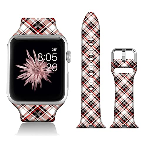 FTFCASE Sport Bands Compatible with iWatch 42mm/44mm Plaid - Red, Flower Printed Soft Silicone Strap Replacement for iWatch 42mm/44mm Series 4/3/2/1 Women Men