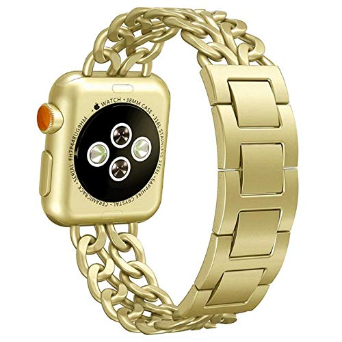 Correa de Acero Inoxidable Aplicar a Apple Watch Band 40mm 44mm Iwatch Band 38mm 42mm Pulsera de Carne para Apple Watch 5 4 3 42 40 38 44 mm (Band Color : Gold, Band Width : 38mm or 40mm)