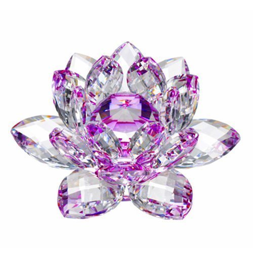 Amlong Crystal Hue Reflection Crystal Lotus Flower with Gift Box, Purple (3 Inch)