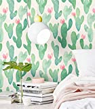 Blooming Wall PS013 Peel&Stick Green Cactus - Papel pintado autoadhesivo para pared, color verde