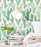 Blooming Wall PS013 Peel&Stick Green Cactus - Papel pintado autoadhesivo para pared, color verde