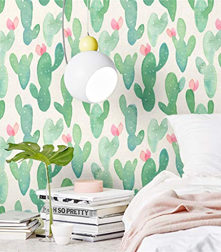Blooming Wall PS013 Peel&Stick Green Cactus Self-Adhesive Prepasted Wallpaper Wall Mural, (Green)
