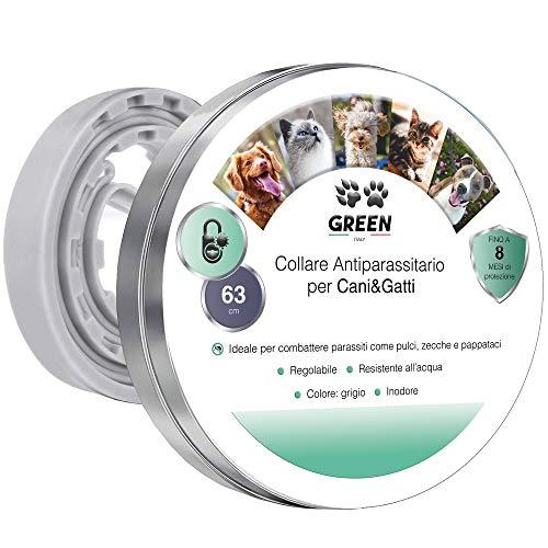 Green-Italy Collare Antipulci Cane e Gatto, Regolabile 63 cm - Efficacia 8 Mesi, Estratti Naturali Antizecche, Antiparassitario, Adatto per Qualsiasi Taglia