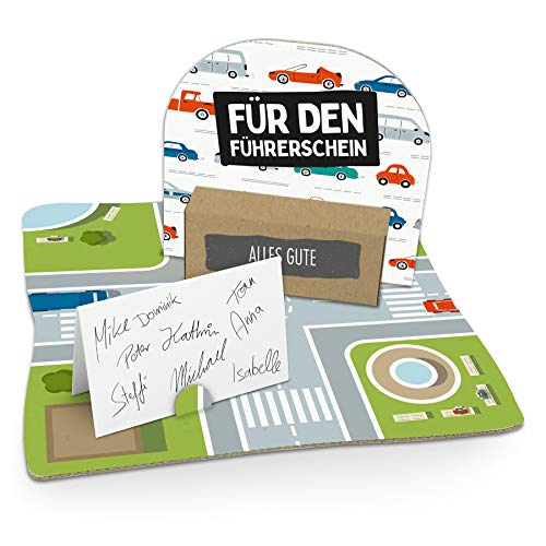 itenga Geldgeschenk Für den Führerschein Gastgeschenk Verpackung Geschenk Gutschein mit Bodenplatte, Geschenkkarte und Stickerbogen