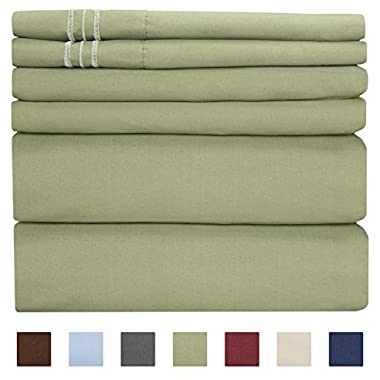 King Size Sheet Set - 6 Piece Set - Hotel Luxury Bed Sheets - Extra Soft - Deep Pockets - Easy Fit - Breathable & Cooling Sheets - Wrinkle Free - Green - Sage Green Bed Sheets - Kings Sheets - 6 PC