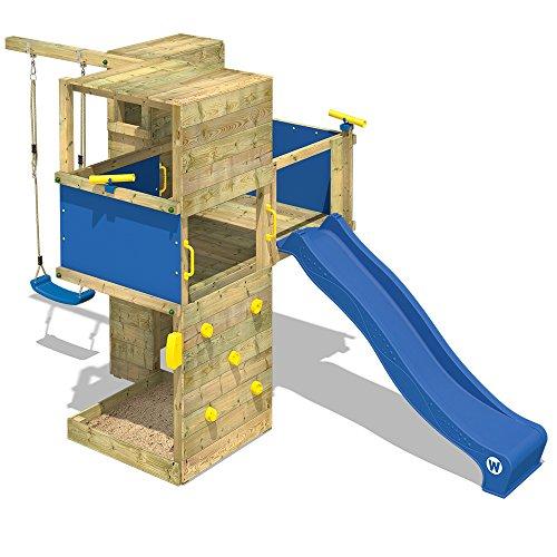 Wickey Speeltoren, klimrek, smart cube, klimtoren in modern design, speelhuisje, hout, tuin met schommel, glijbaan, klimwand, zandbak en houten dak, blauwe glijbaan + blauw zeil