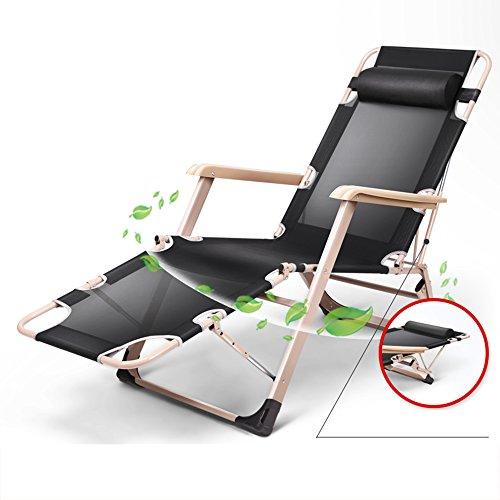 AJZXHESimple et créatif Chaises Longues, chaises de Bureau, chaises de Plage, chaises Pliantes, chaises Longues élégantes, (Couleur : Noir)